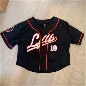 LF the brand cropped jersey top s black going out